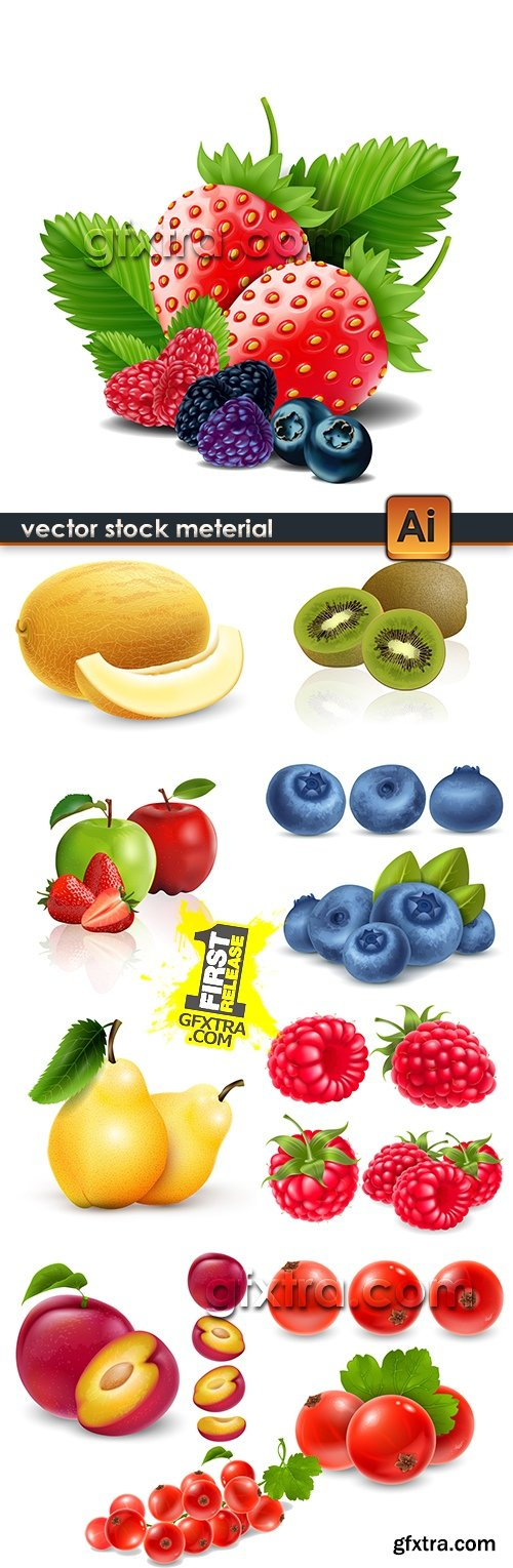 Ripe and juicy realistic berries illustration vector