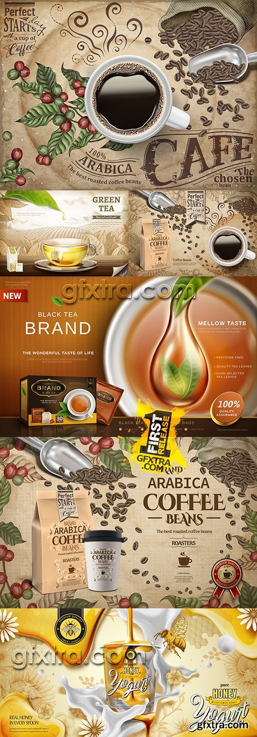 Coffee branch cup tea and spoon honey 3d illustration