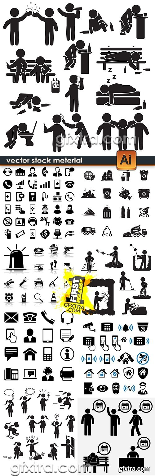 Set vector silhouettes and icons of indexes design