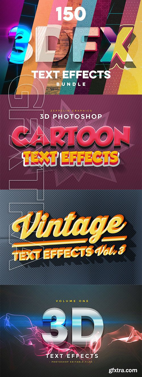 CreativeMarket - 150 3D Text Effects for Photoshop 2834709
