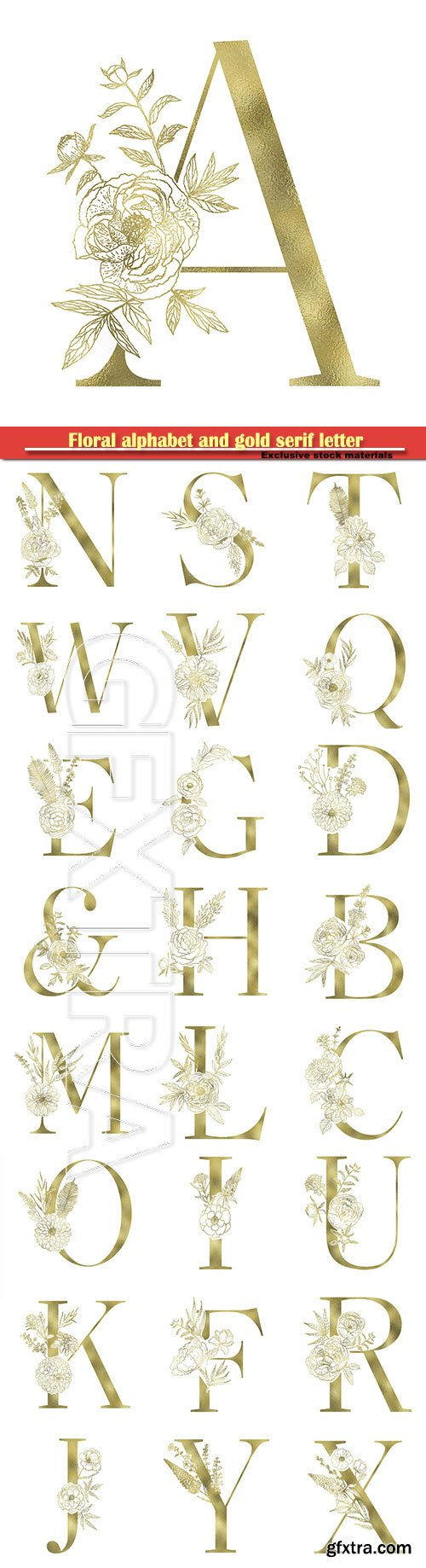 Floral alphabet and gold serif letter, vector decorative ABC