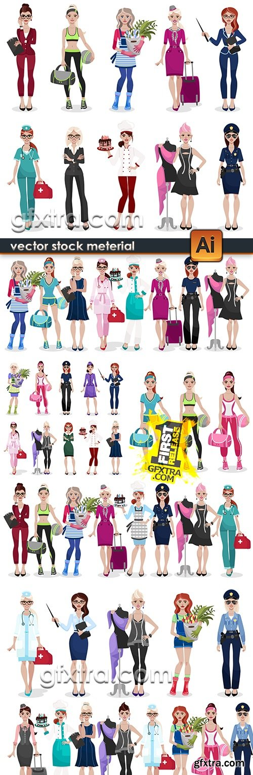 Modern girl's professional form different professions