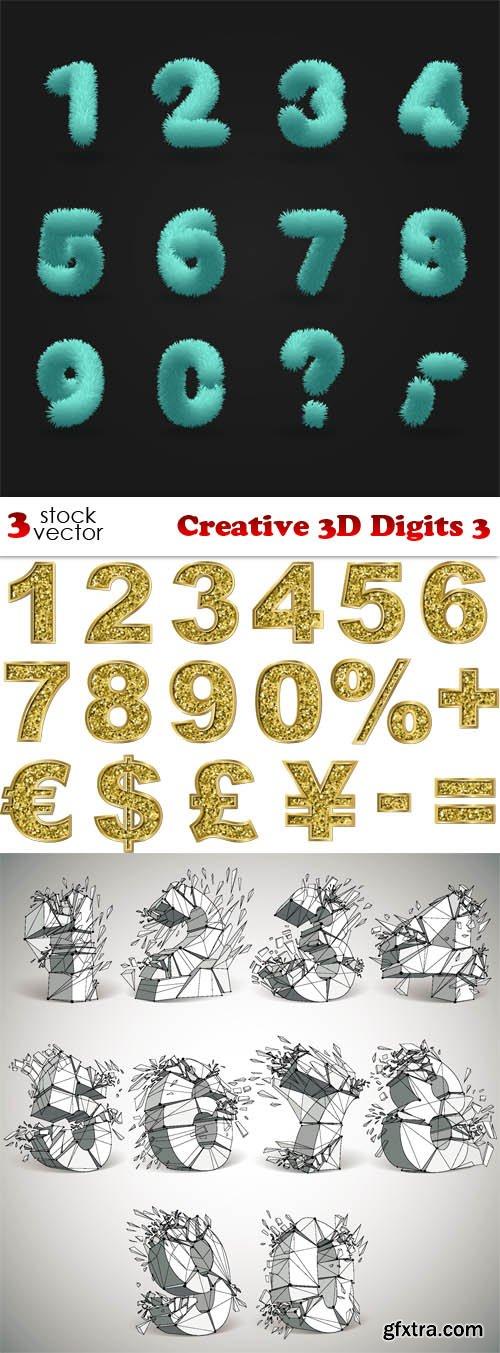 Vectors - Creative 3D Digits 3