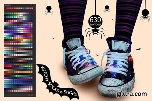 CreativeMarket - Witchy Socks & Shoes Swatches 2873705