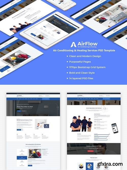Airflow - Air Conditioning & Heating PSD Template