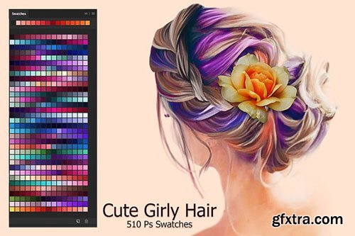 CreativeMarket - Cute Girly Hair Swatches 2874579