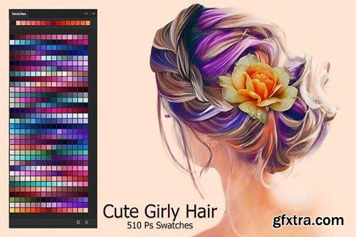 CreativeMarket - Cute Girly Hair Swatches 2874579