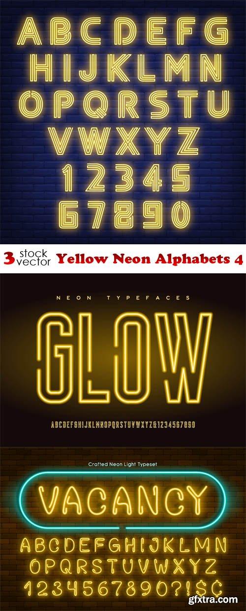 Vectors - Yellow Neon Alphabets 4