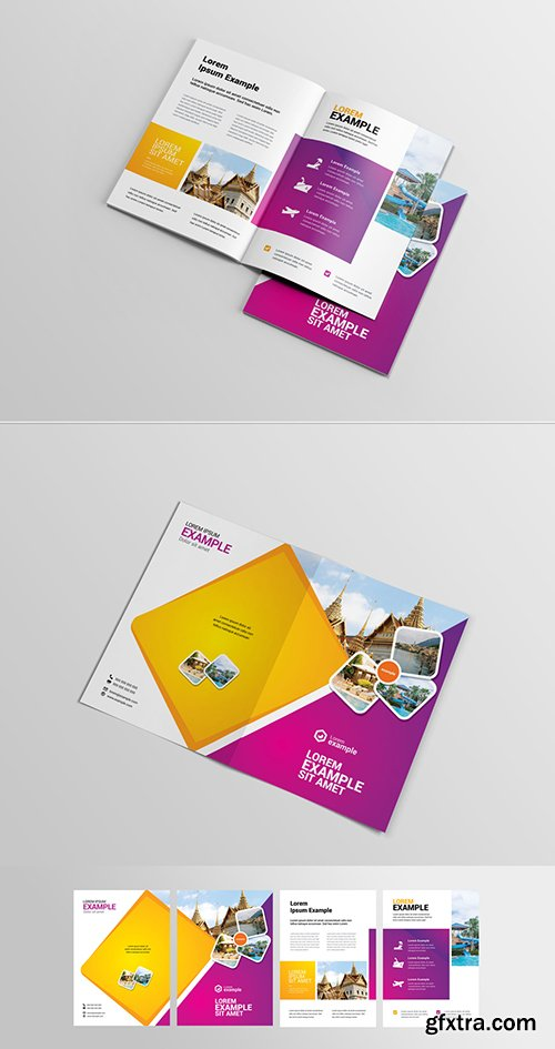 Purple and Orange Brochure Layout