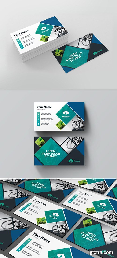 Business Card Layout with Diamond Photo Elements