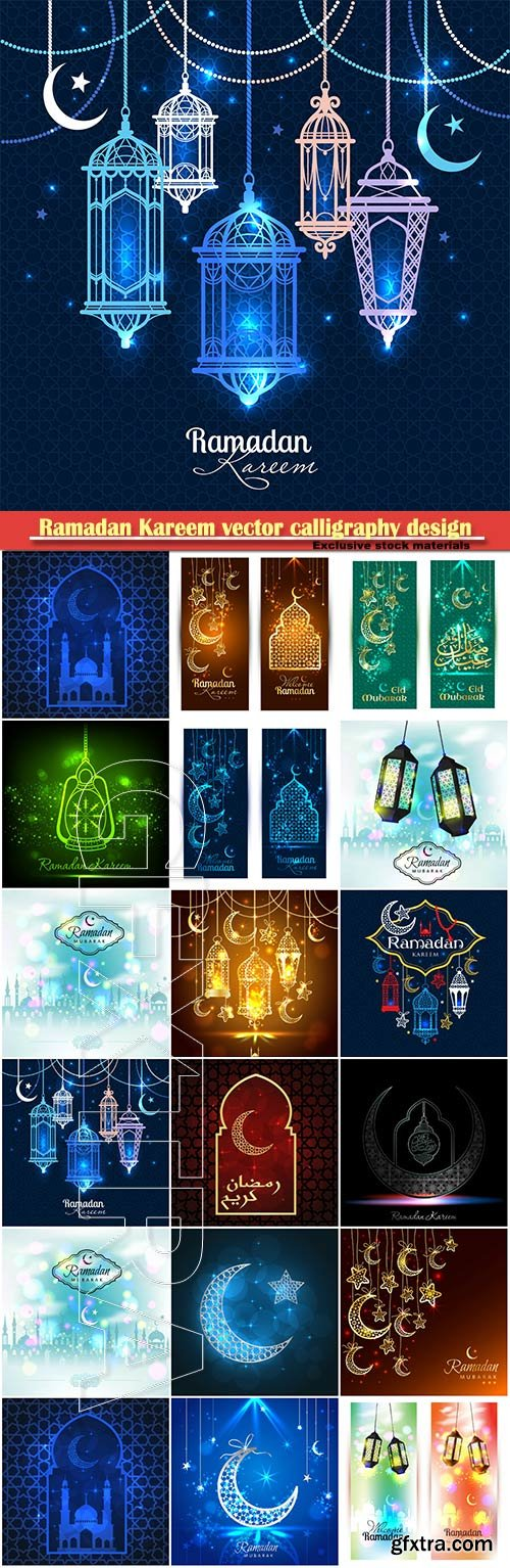 Ramadan Kareem vector calligraphy design with decorative floral pattern, mosque silhouette, crescent and glittering islamic background # 65