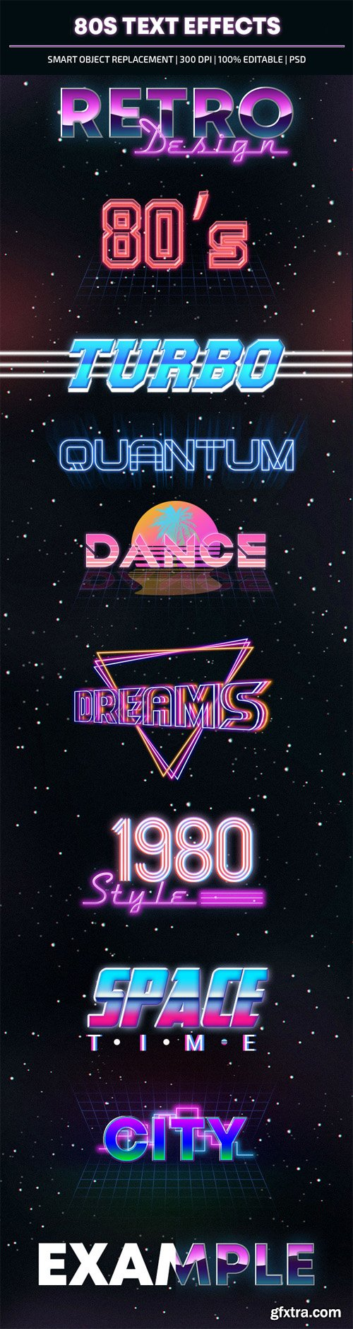 10 (80s) Text Effects for Photoshop
