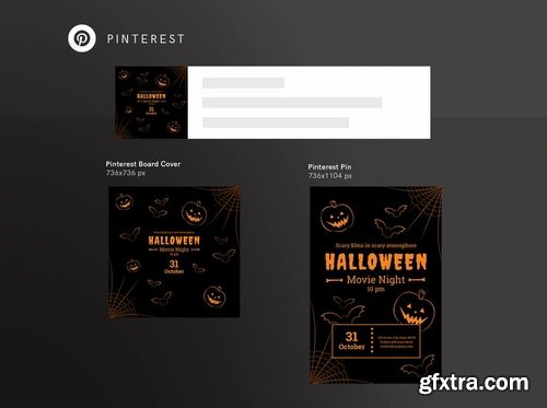 Halloween Movie Night Social Media and Banner Pack Pack Template