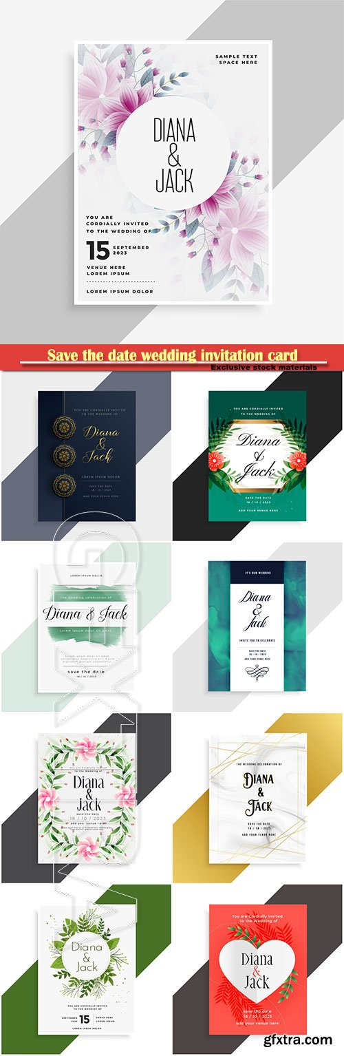 Save the date wedding invitation card design with flower vector save the date wedding invitation card design with flower stopboris Gallery