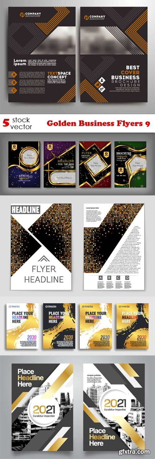 Vectors - Golden Business Flyers 9