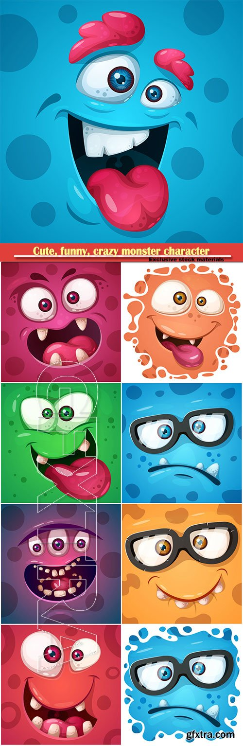 Cute, funny, crazy monster character, vector printing on T-shirts