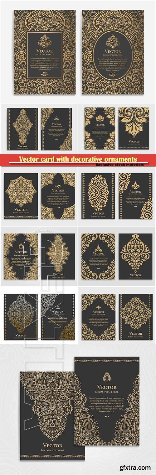 Vector card with vintage decorative ornaments