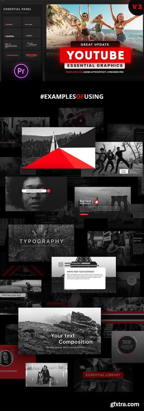 Videohive - Youtube Essential Library | MOGRT for Premiere V3.2 - 21655955