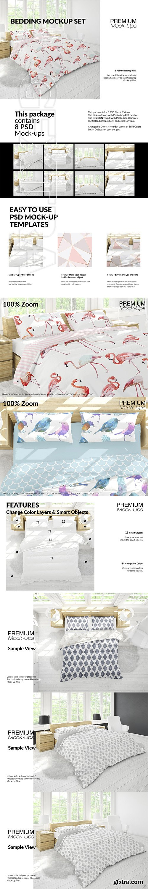 CreativeMarket - Bedding Mockup Set 2930610
