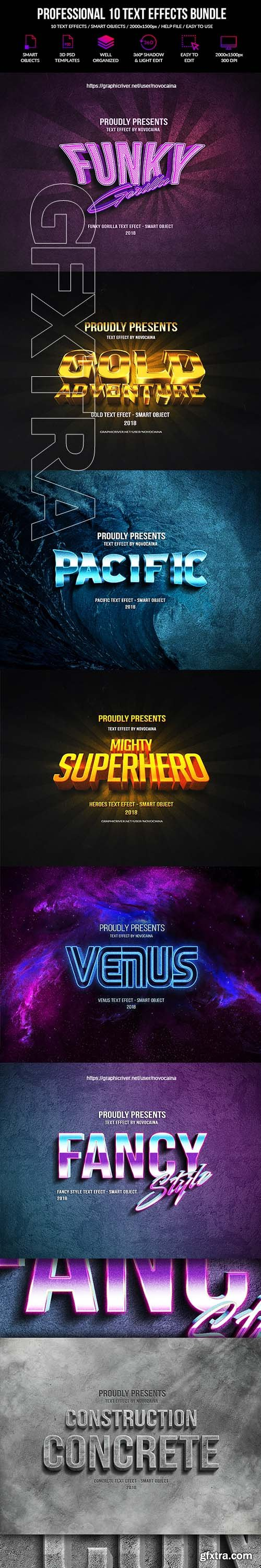 GraphicRiver - Professional 10 Text Effects Bundle 22563076