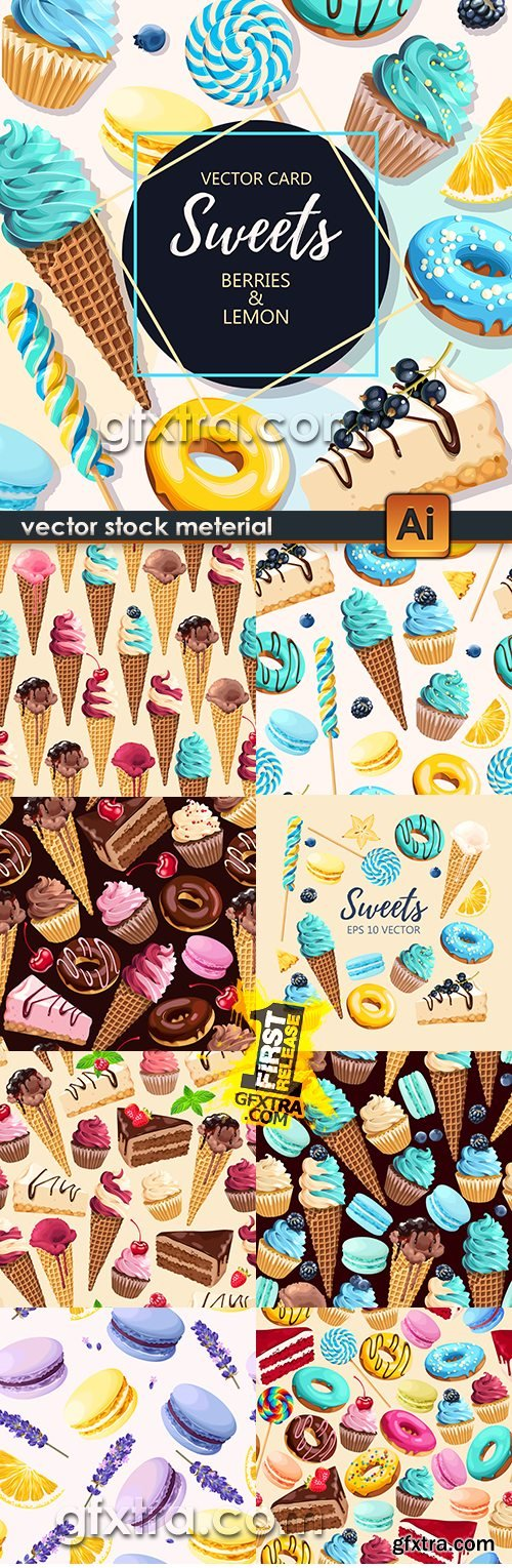 Ice cream and cake in chocolate sweet seamless background