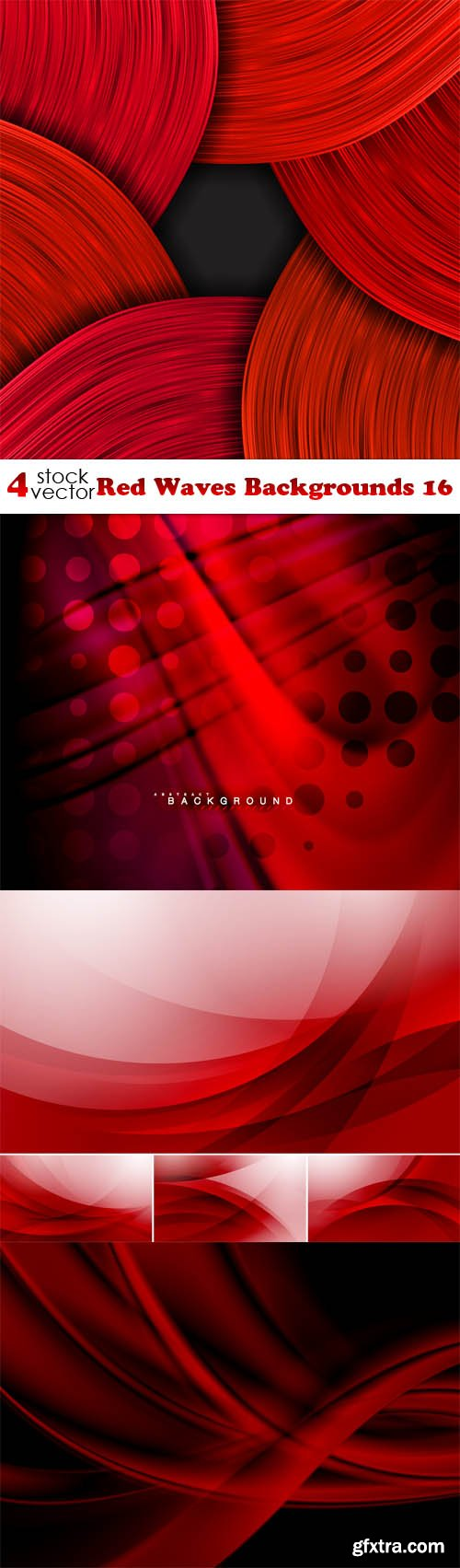 Vectors - Red Waves Backgrounds 16