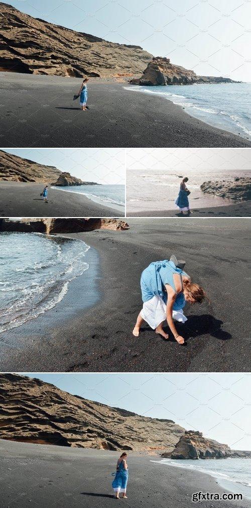 Stock Photos - Girl Relaxing on Ocean Beach