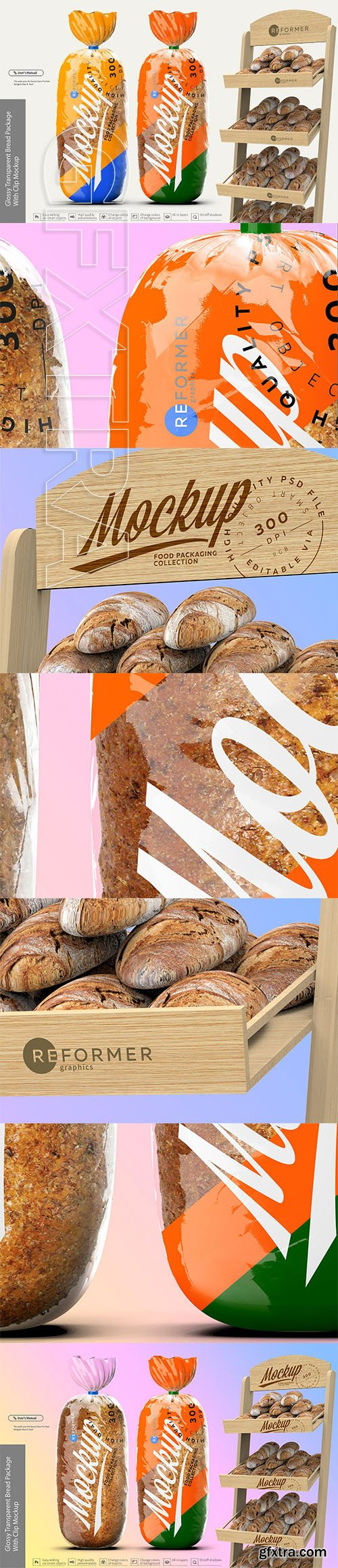 CreativeMarket - Glossy Transparent Bread Package 2834694