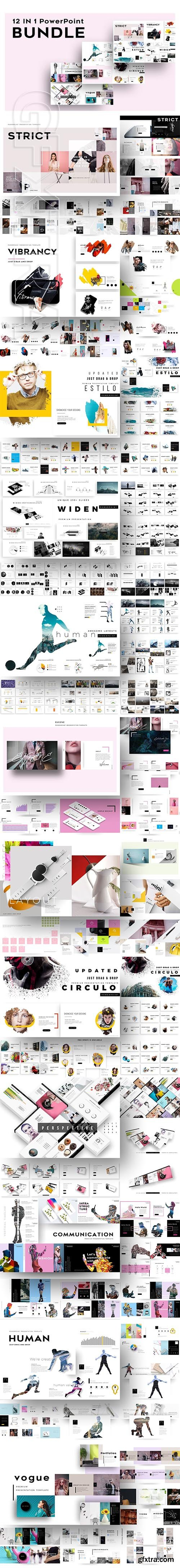 CreativeMarket - 12-IN-1 Creative PowerPoint Bundle 2933014