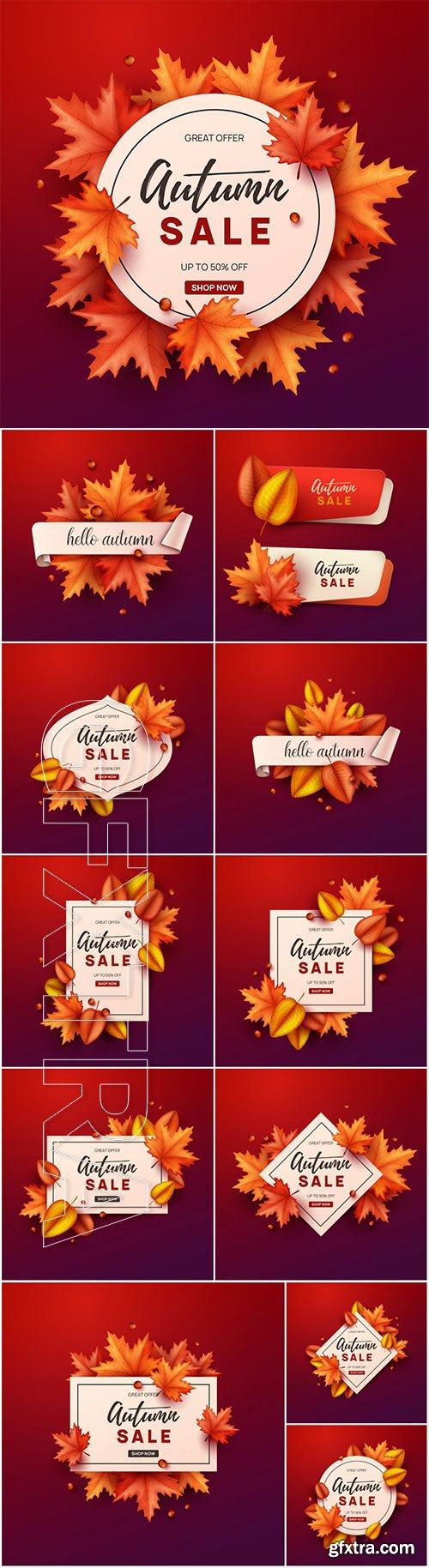 Autumn art frame vector design illustration