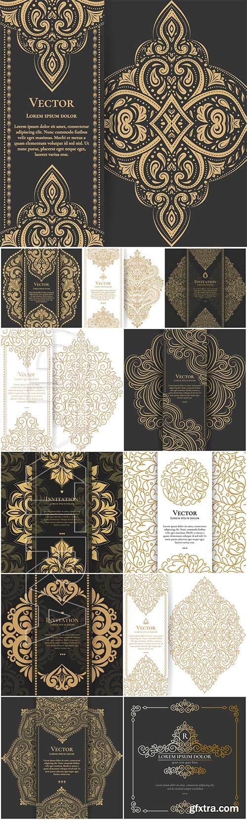 Vector vintage backgrounds with gold patterns
