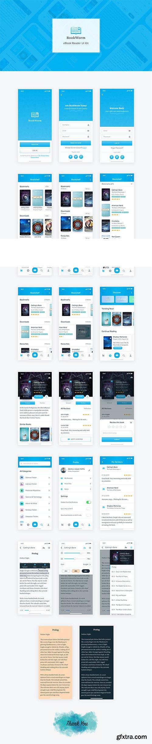 BookWorm eBook Reader UI Kit