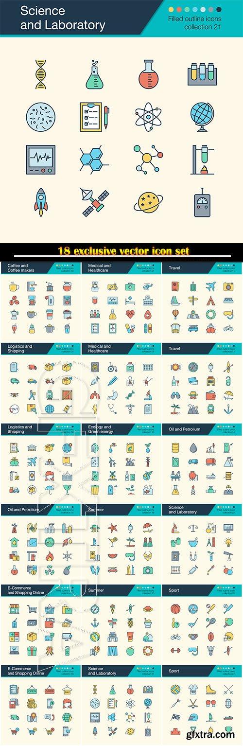 Icons vector set, or presentation, graphic design, mobile application, web design, infographics
