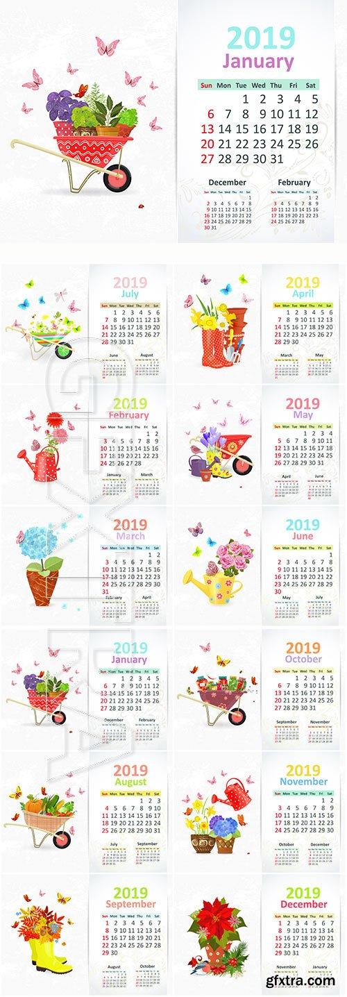 Calendar for 2019 year vector illustration, lovely gardening