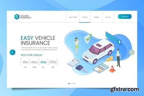 Car Insurance Web Header PSD & Vector Temp Vol. 01