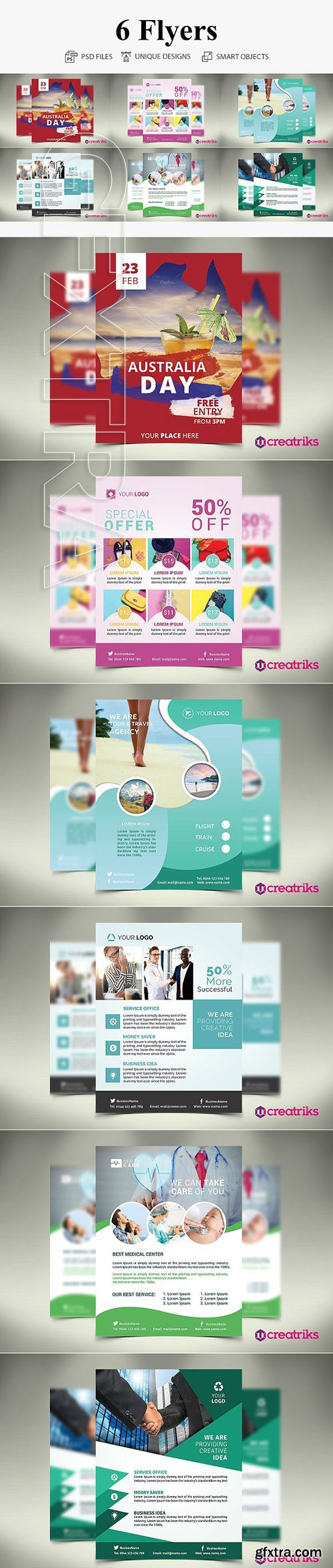 CreativeMarket - 6 MultiPurpose Flyers 2942972