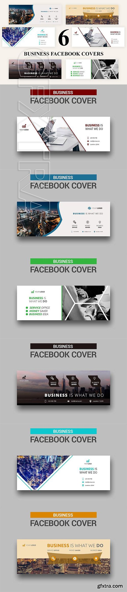 CreativeMarket - 6 Business Facebook Covers 2933621