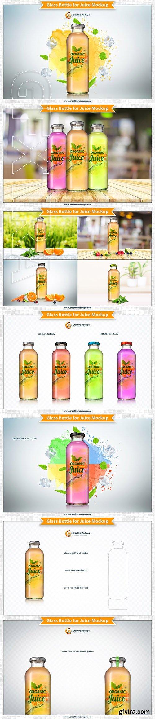 CreativeMarket - Glass Bottle for Juice Mockup 2941755