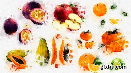 Videohive Watercolor Fruits And Vegetables 22608905