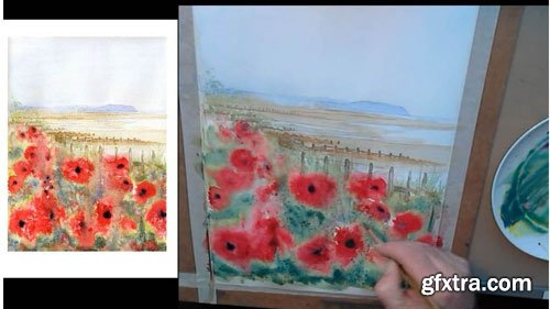 Learn how to paint watercolor poppies on the beach beginner
