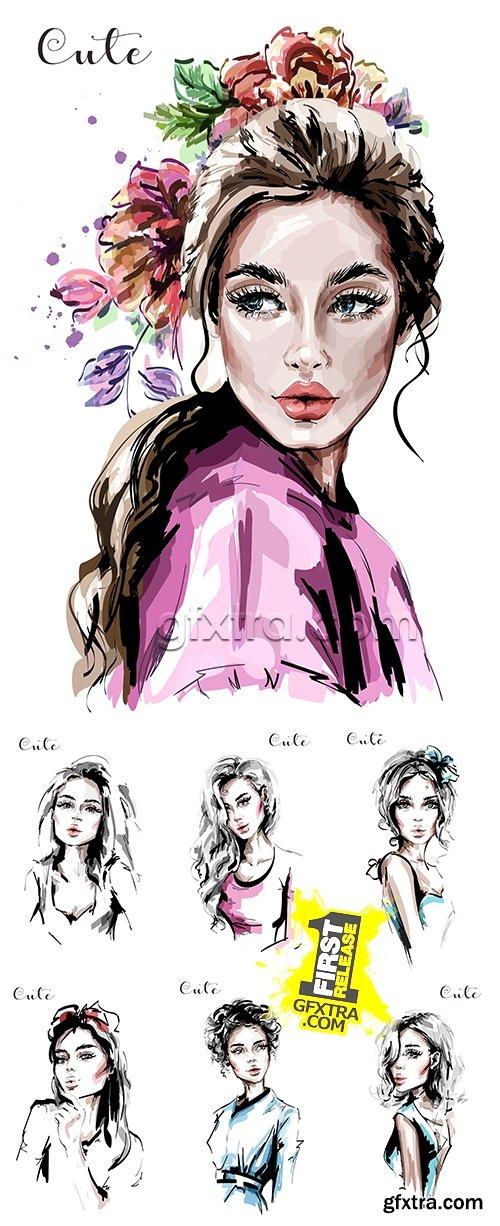 Portrait stylish beautiful girl sketch drawing