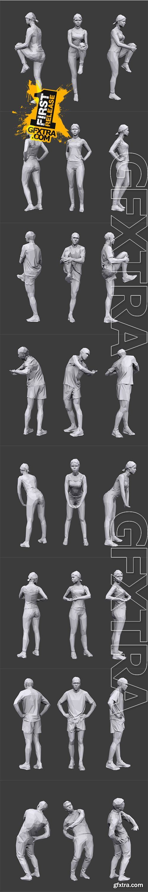 Cubebrush - Lowpoly People Fitness Pack