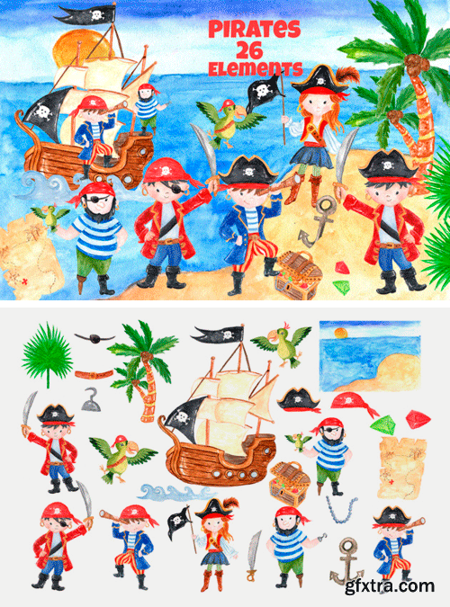 26 Pirate Themed Kids Clip-Art Elements