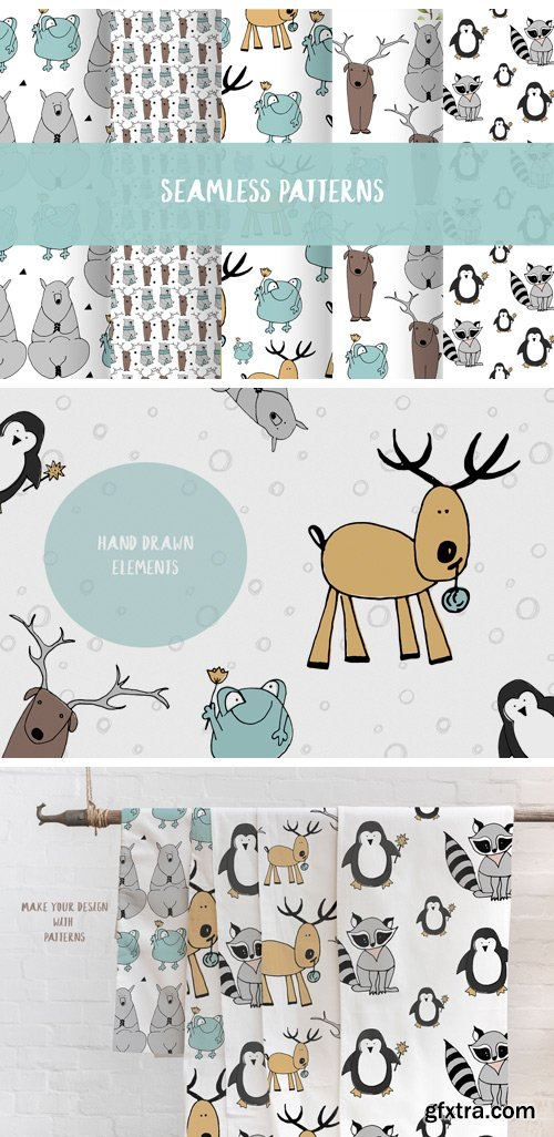 Animals & Patterns for Baby Nursery Cute Baby Illustrations