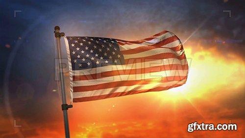 American Flag Backlit At Sunrise Loop 108127