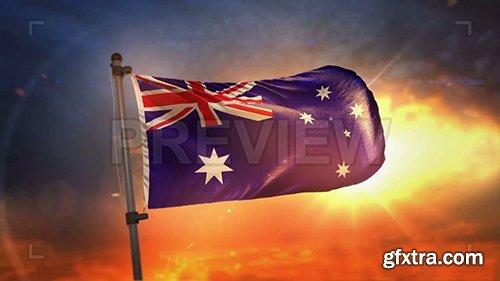 Australia Flag At Sunrise Loop 108611