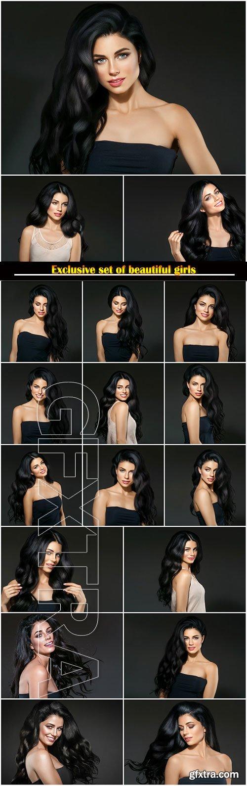 Beautiful black hair woman beauty portrait, female beauty portrait