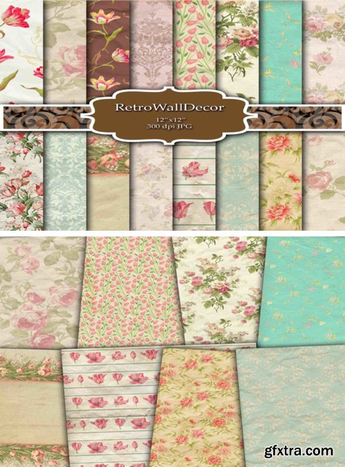 16 Floral Digital Papers