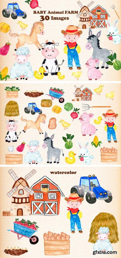 Set with 30 Baby Farm Animals
