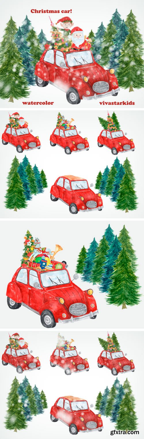 7 Watercolor Christmas Clipart Items